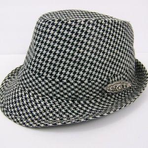 Houndstooth Black White Hat Fedora Rhinestone Pin